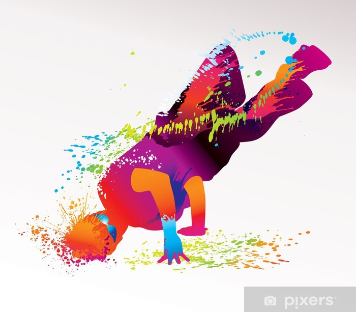 Fototapeta winylowa Chłopiec taniec z kolorowe plamy i odpryskami. wektor - Tematy