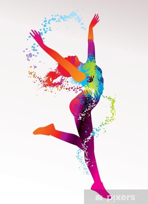 Vinyl Fotobehang De dansende meisje met kleurrijke vlekken en spatten op een lichte bac -
