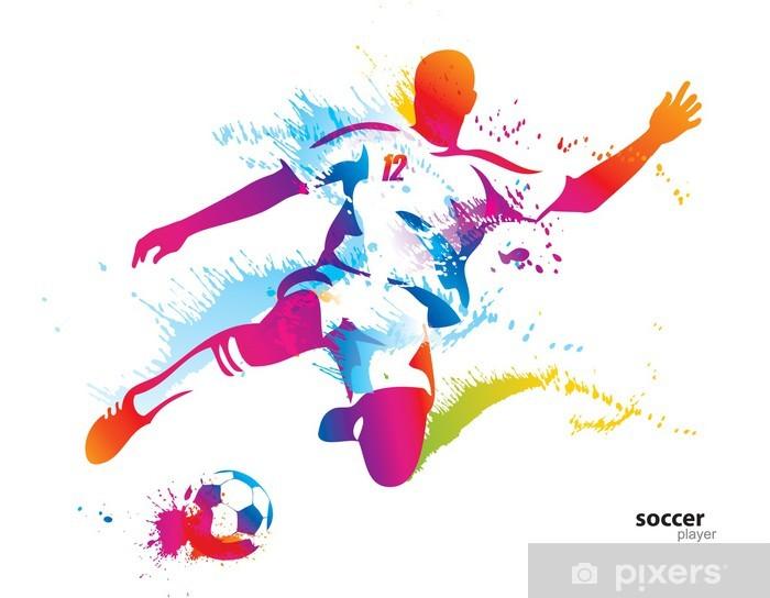 Soccer player kicks the ball. The colorful vector illustration Vinyl Wall Mural - Destinations
