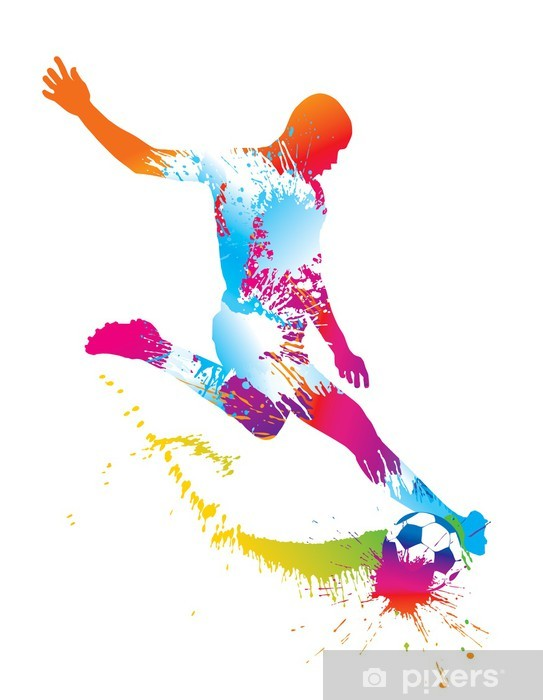 Soccer player kicks the ball. Vector illustration. Vinyl Wall Mural - Team Sports