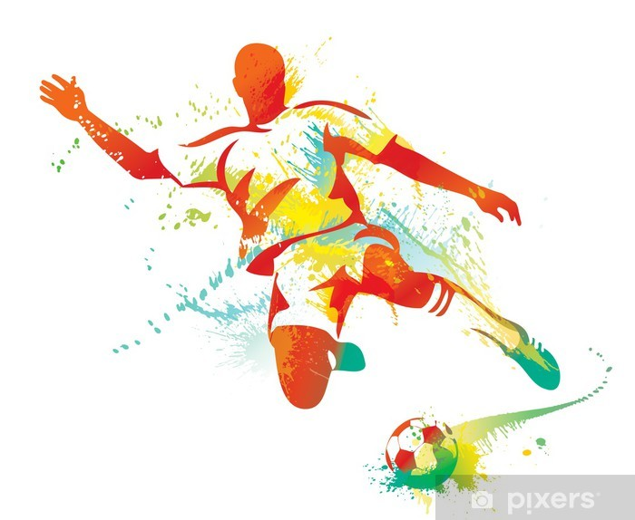 Soccer player kicks the ball. Vector illustration. Vinyl Wall Mural - Destinations
