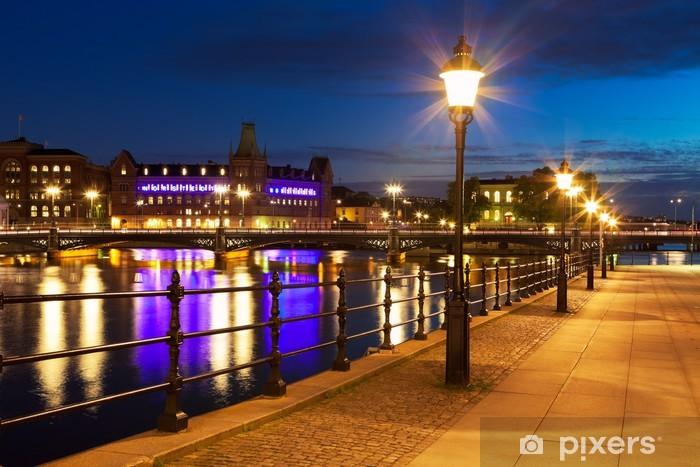 Fototapeta winylowa Stare Miasto w nocy w Sztokholmie, Szwecja - Europa