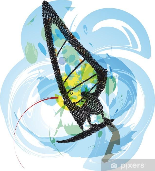 windsurfing illustration. Vector Vinyl Wall Mural - Water Sports