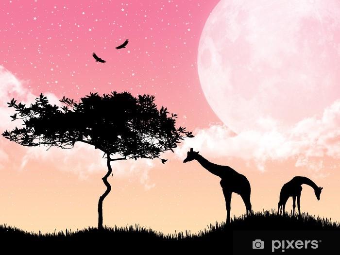 Nálepka Pixerstick Krásné růžové tapety s žirafy - Savci