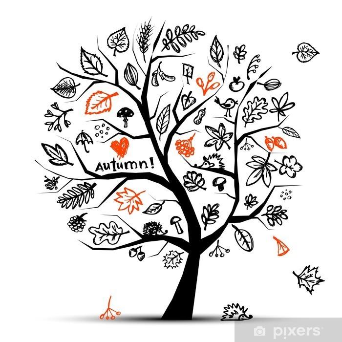Plakát Podzimní strom, skica kreslení pro svůj design - Nálepka na stěny