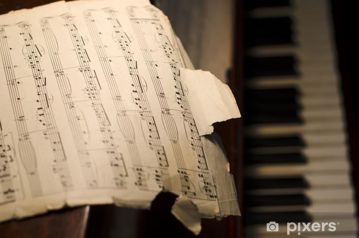 Papier peint vinyle Vieux Partitions sur Piano - Piano à queue