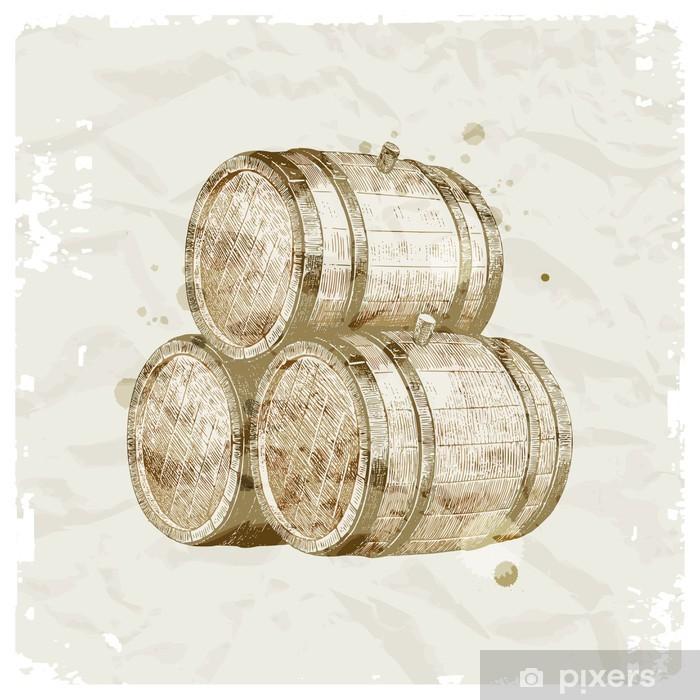 Hand drawn wooden barrels on vintage paper background Pixerstick Sticker - Alcohol