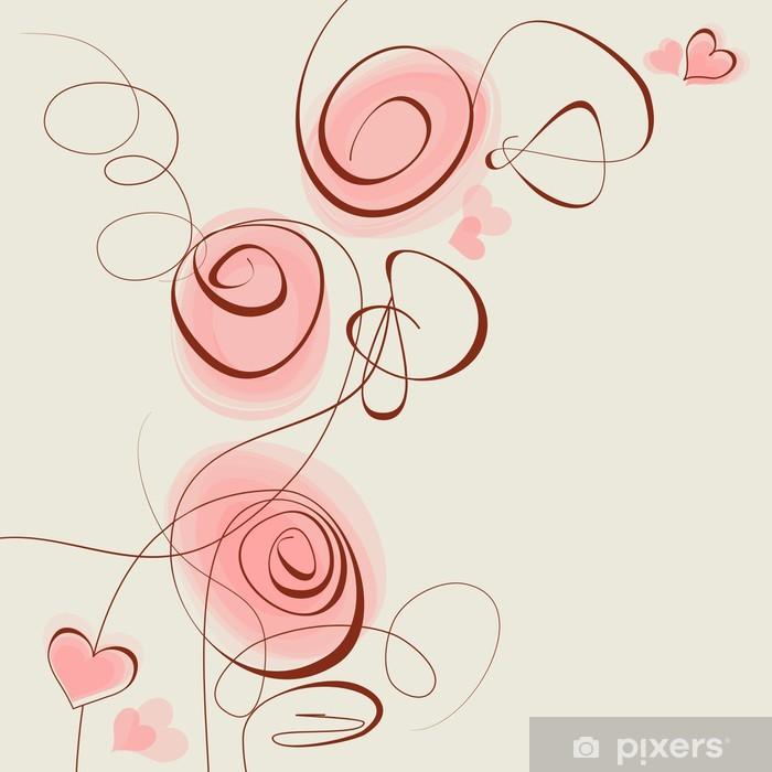 Naklejka Pixerstick Różowe kwiaty i serca - Przeznaczenia