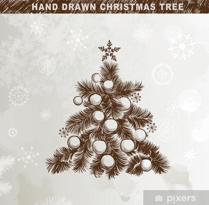 Weihnachtsbaum Gezeichnet.Fototapete Hand Gezeichnet Weihnachtsbaum Mit Kugeln Sternen