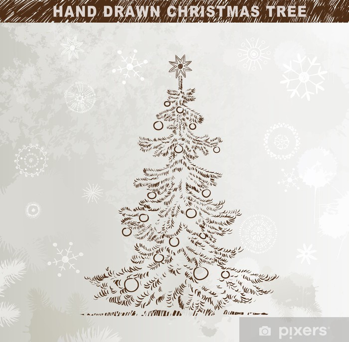 Weihnachtsbaum Gezeichnet.Fototapete Hand Gezeichnet Weihnachtsbaum Mit Kugeln