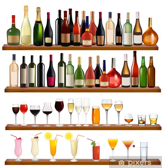 Set of different drinks and bottles on the wall. Vector Pixerstick Sticker - Alcohol