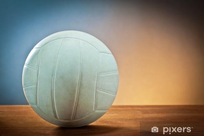 Vinyl-Fototapete Sport equipment.Volleyball auf Holz. - Volleyball