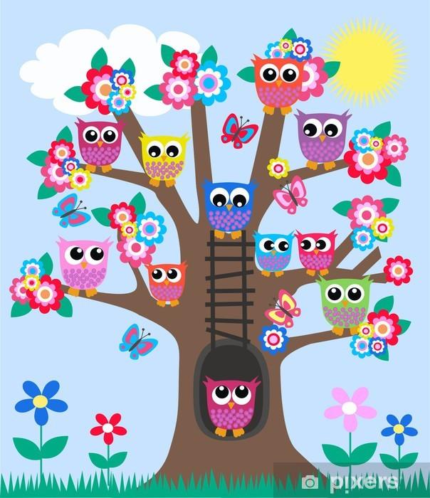 Fototapeta winylowa Wiele sowy na drzewie - Dla przedszkolaka