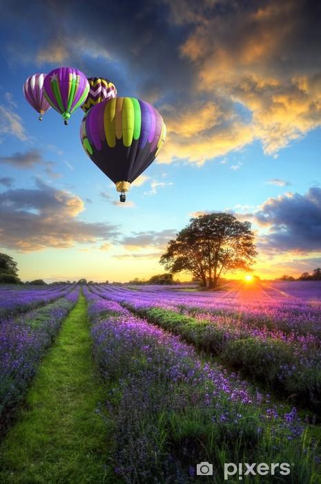 Papier peint vinyle Ballons à air chaud survolant le coucher du soleil paysage de lavande -