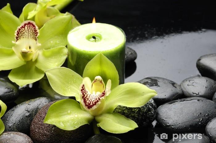 Polttava kynttilä ja zen kivet keltaisella orkideilla Pixerstick tarra - Styles