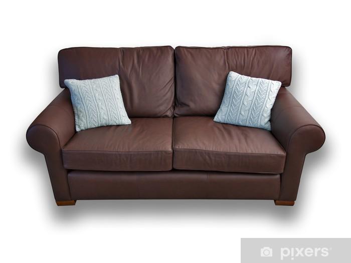 Divano Maria Rosaria : Adesivo divano in pelle marrone con cuscini u2022 pixers® viviamo per