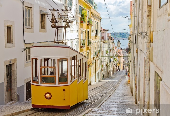 Historic tram on a street in Lisbon Vinyl Wall Mural - Themes