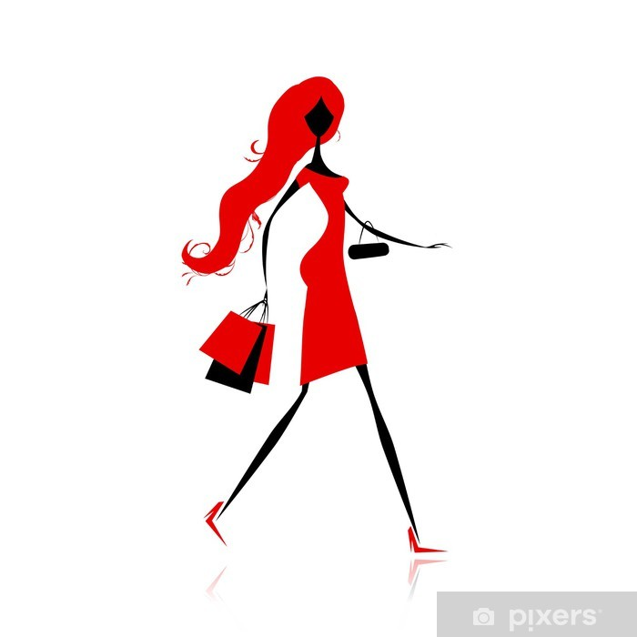 43f5cb886f87b Vinilo Chica de moda con bolsas de la compra para su diseño Pixerstick