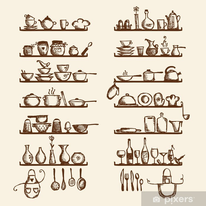 Kitchen utensils on shelves, sketch drawing for your design Vinyl Wall Mural - Themes