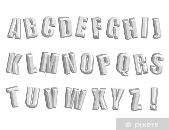 Pixerstick Sticker Awesome 3D Alphabet! Vector / Clip Art - Thema's