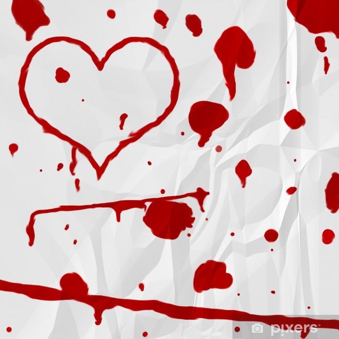 Vinyl Fotobehang Bloed hart op papier - iStaging