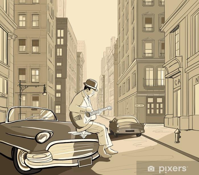 Sticker Pixerstick Guitariste dans une vieille rue de New york - Jazz