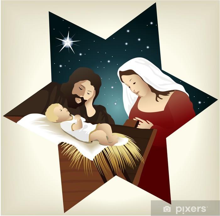 Poster Crèche de Noël avec la Sainte Famille - Fêtes internationales