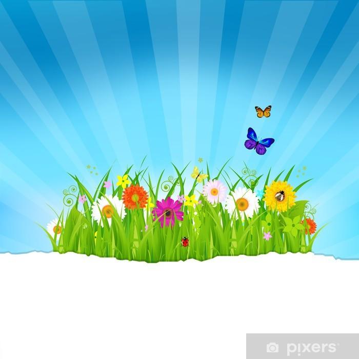 Fototapeta winylowa Green Grass Z Kwiatów i papier - Pory roku