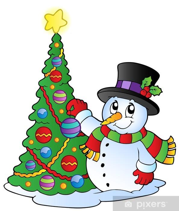 Fotobehang Sneeuwman cartoon met kerstboom • Pixers® - We leven om te  veranderen