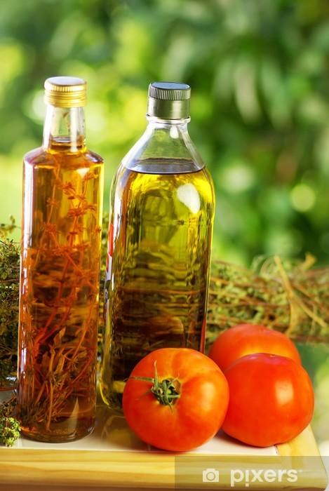 Fototapeta winylowa Oliwa z oliwek, ocet, oregano i pomidora. - Przyprawy i zioła