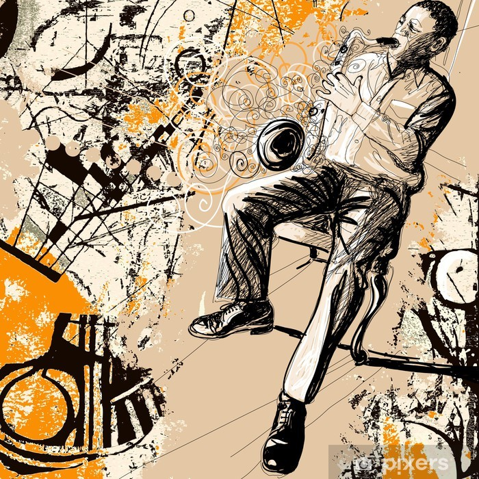 Vinilo Pixerstick Saxofonista sobre un fondo grunge - Jazz