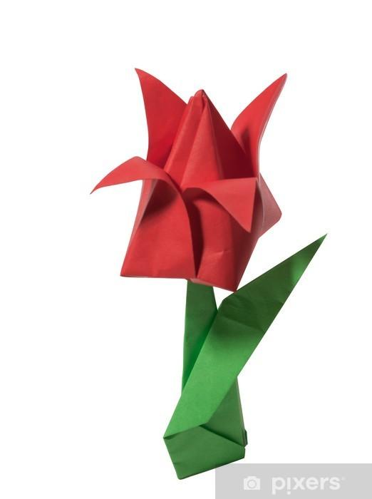 Papier Peint Origami Tulipe Rouge Isole Sur Blanc Pixers Nous