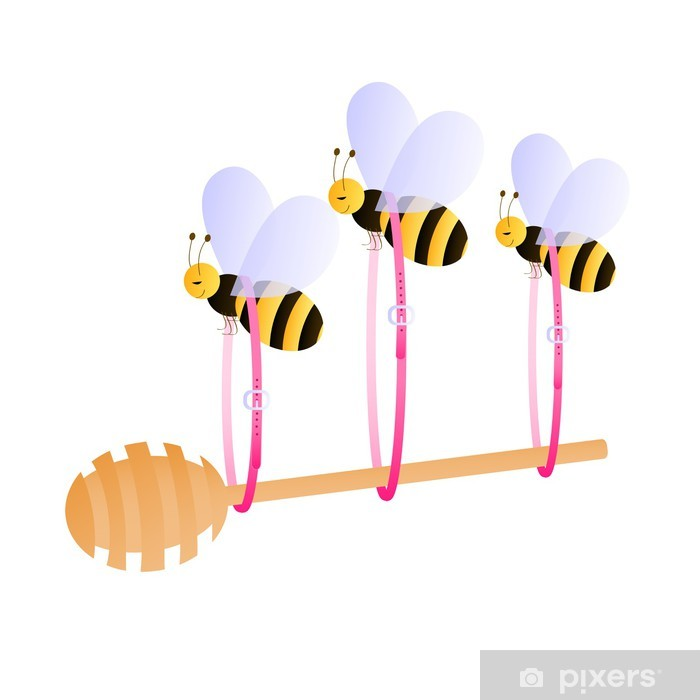 Bees carrying honey dipper Pixerstick Sticker - Other Other