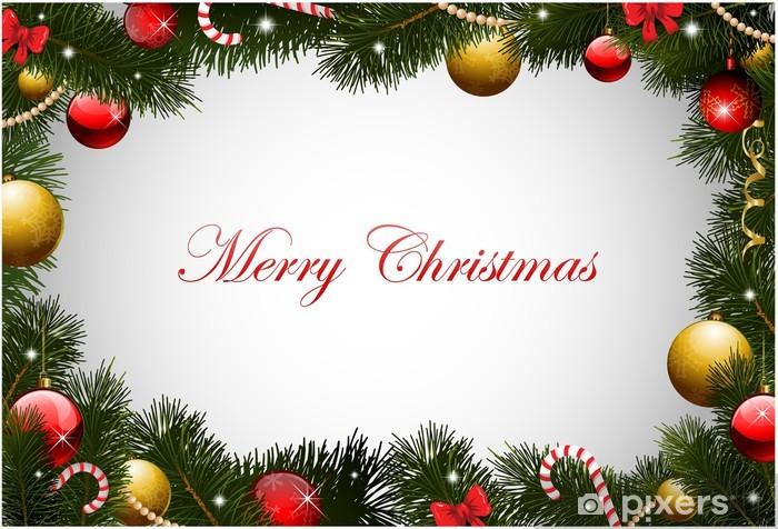 Christmas Greetings Background.Christmas Card Background Garland Frame Sticker Pixerstick