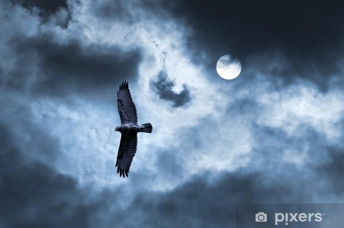 Naklejka Pixerstick Drapieżny ptak rosnących w burzliwe niebo - Niebo