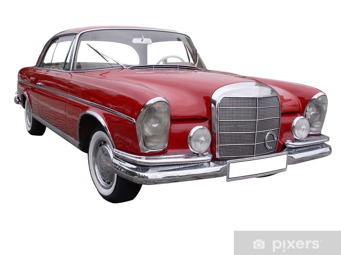 Red car Mercedes with rain drops on it Vinyl Wall Mural - Themes