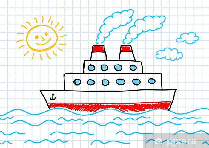 Drawing Of Ship Wall Mural Pixers We Live To Change