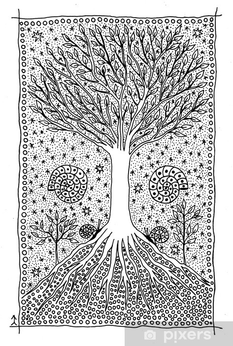 Vinilo Pixerstick árbol De La Vida Dibujo Fantástico Pixers