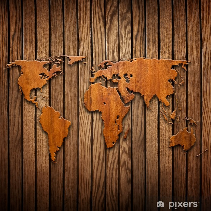world map carving on wood plank Wall Mural • Pixers® - We live to change