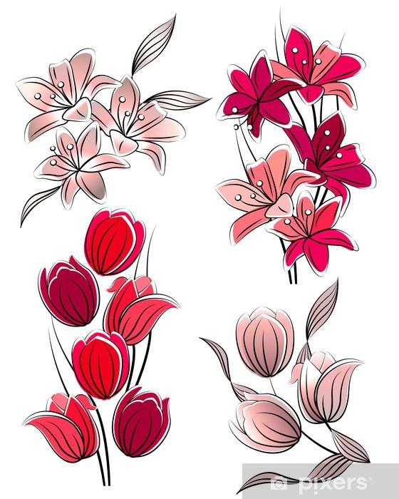 Fiori Stilizzati.Carta Da Parati Set Di Fiori Stilizzati Tulipani E Gigli Pixers