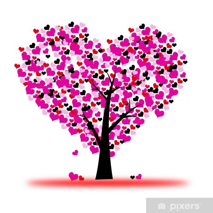 Naklejka Pixerstick Różowy, walentynki, drzewo, miłość, liści z serca - iStaging