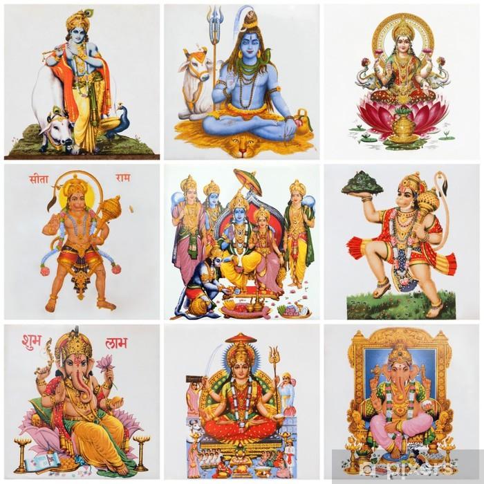 Vinyl-Fototapete Collage mit Hindu-Gottheiten - Religion