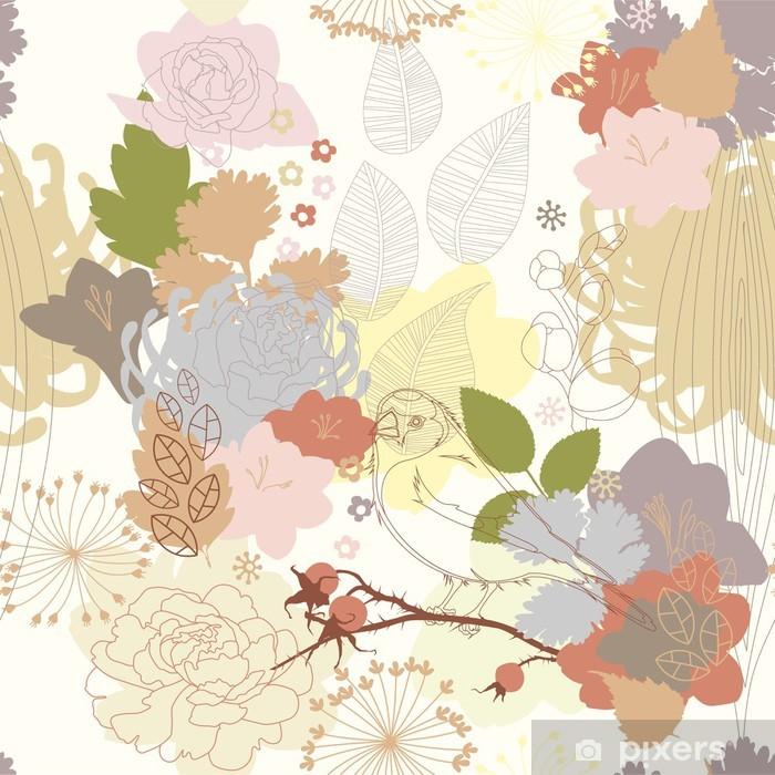 Papier peint vinyle Arrière-plan transparent avec ornement botanique abstraite - Thèmes