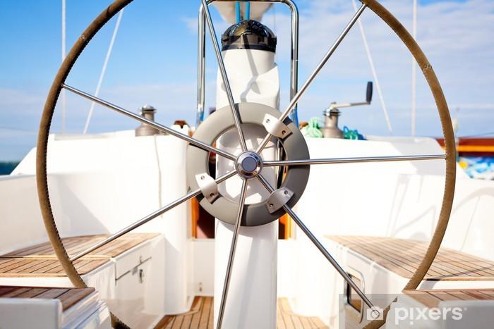 Fototapeta winylowa Kierownica na łodzi z pustymi miejscami. - Transport wodny