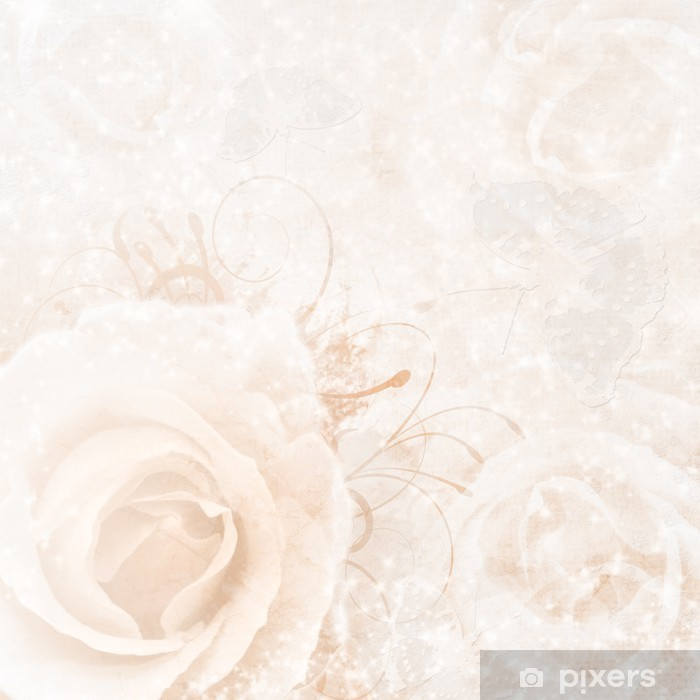 beige wedding background with roses Wall Mural - Vinyl