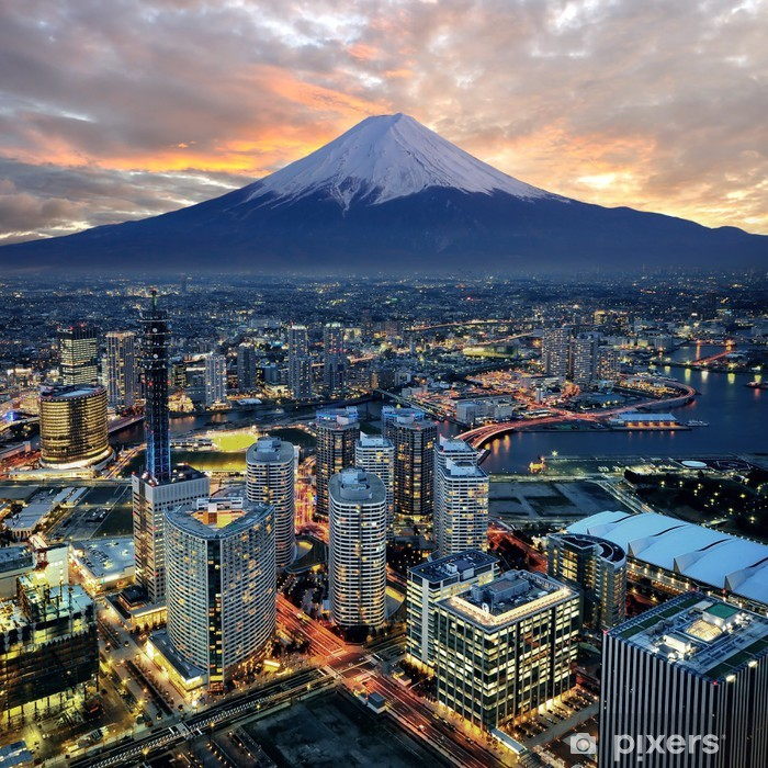 Surreal view of Yokohama city and Mt. Fuji Vinyl Wall Mural -