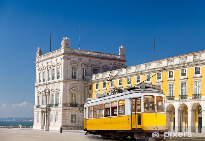 Lisbon yellow tram at central square Praca de Comercio, Portugal Pixerstick Sticker - European Cities
