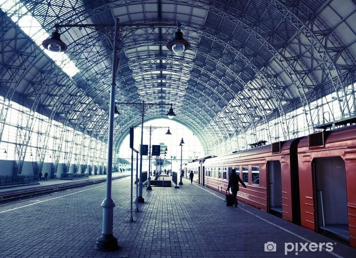 Vinil Duvar Resmi Örtülü tren istasyonu - Demiryolu