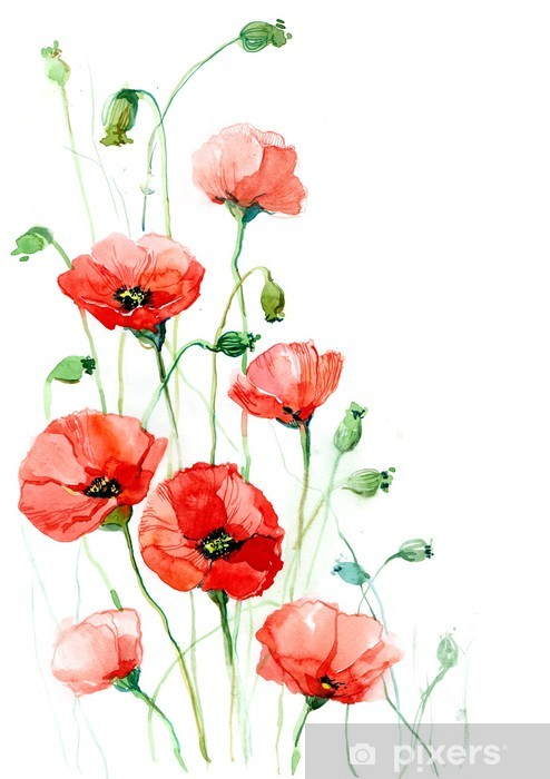poppies (series C) Pixerstick Sticker -