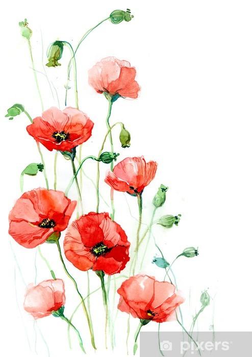 poppies (series C) Window & Glass Sticker -
